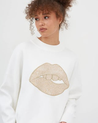 Ivory Lip Motif Knitted Jumper