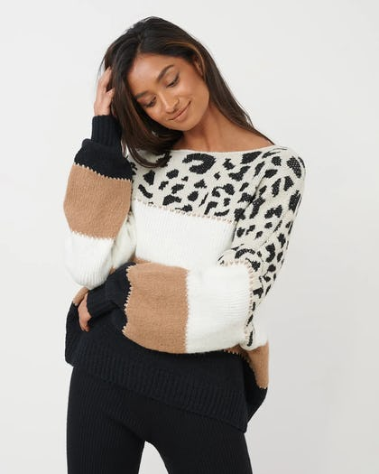 Animal Print Oversized Jumper with Contrast Stripe
