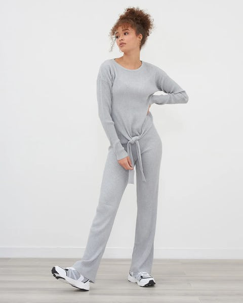Grey Knot Front Knit Co Ord