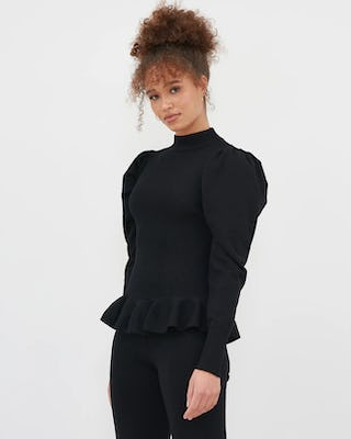 Black Puff Sleeve Peplum Knitted Top With Knitted Trousers