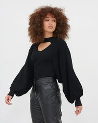 Camel Two In One Knitted Batwing Top