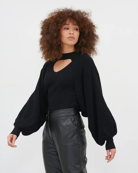 Black Two In One Knitted Batwing Top