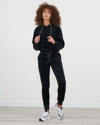 Black Velour Loose Fitting Tracksuit with Drawstring Detail