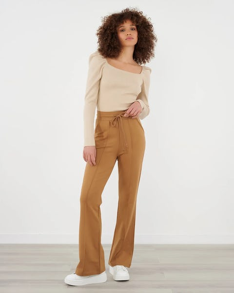 Camel Tie Front Wide Leg Joggers