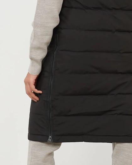 Black Padded Longline Gilet with Zip Detail