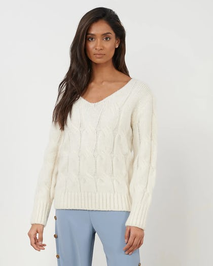 Cream Cable Knit Jumper
