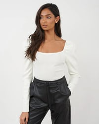 Beige Basic Top with Puff Sleeve