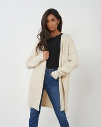 White Oversized Cardigan with Embellished Button Cuff