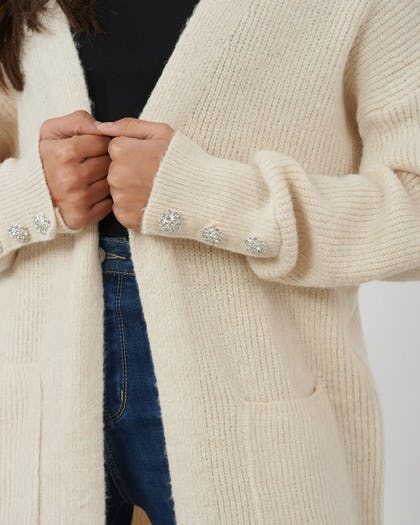 Beige Oversized Cardigan with Embellished Button Cuff