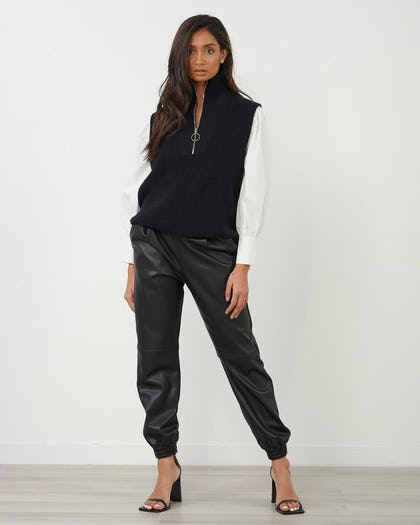 Black Zip Front Sleeveless Jumper