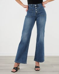 Mid Wash Wide Leg Jeans with Button Front
