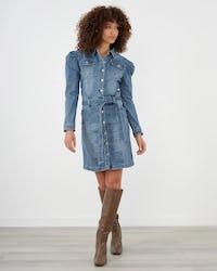 Mid Wash Belted Puff Sleeve Denim Mini Dress