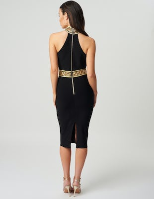 Black and Gold Embellished Midi Dress