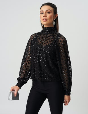 Black Sheer Sequin Blouse