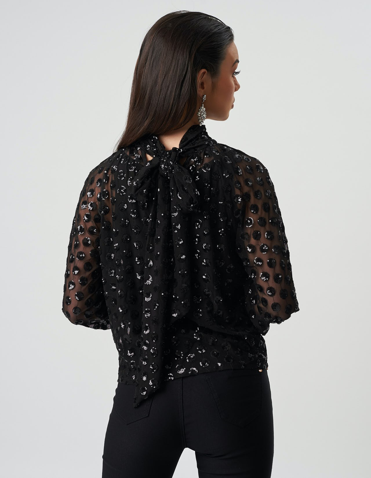 New Next Black Sequin Embroidered Floral Mesh Top Sz UK 8 10 rrp £50