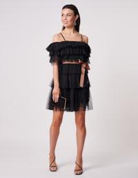 Black bardot ruffle tulle dress