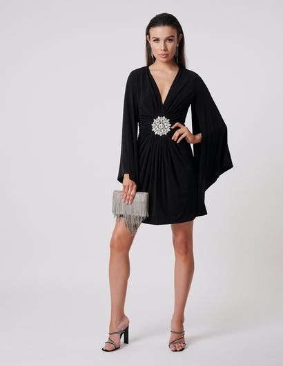 Black Batwing Midi Dress