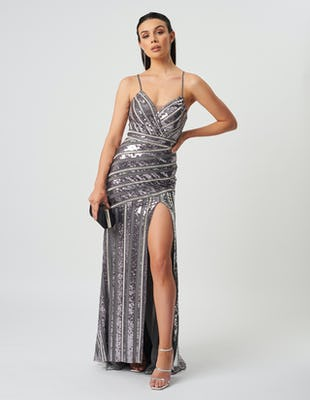 Silver Panel Sequin Maxi Dress ​​​​​​​