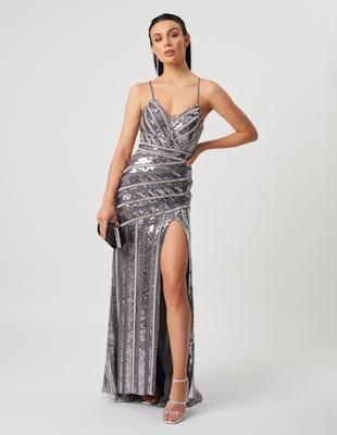 Silver Panel Sequin Maxi Dress 