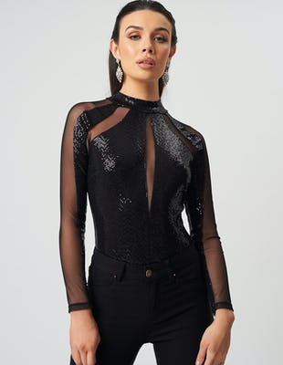Sheer & Embellished Black Bodysuit