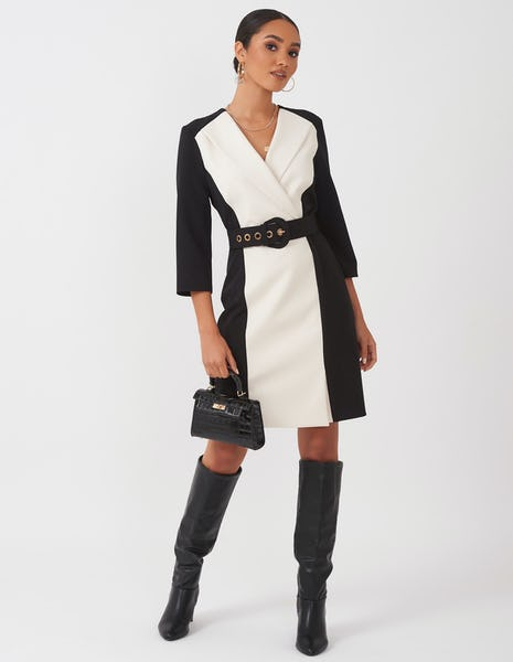 Black and White Belted Blazer Dress