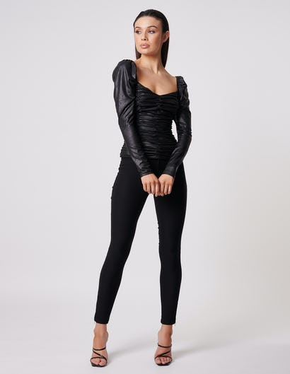 Rouched Black Top with Sweetheart Neckline