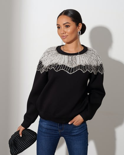 Black Sequin Embellished Sweater