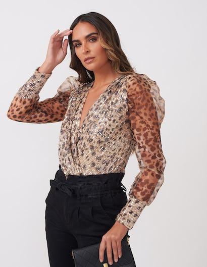 Leopard Print Sequined Organza Bodysuit