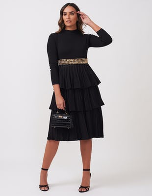 Black Three-Tiered Belted Dress