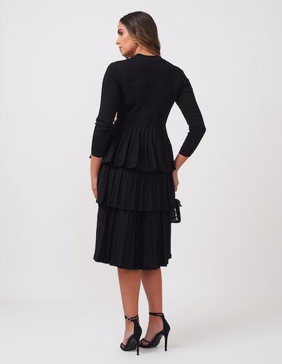 Black Three-Tiered Belted Dress