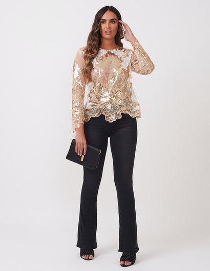 Gold and White Sequin Top