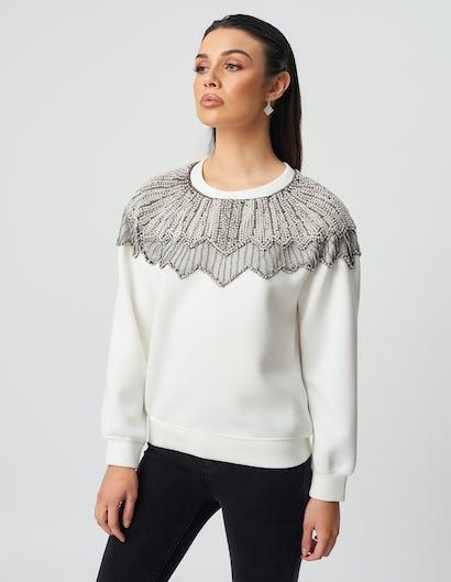 Ivory Sequin Embellished Sweater