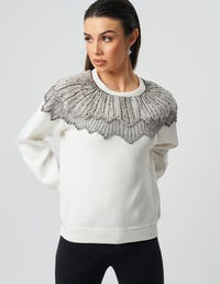 Ivory Sequin Embellished Sweater