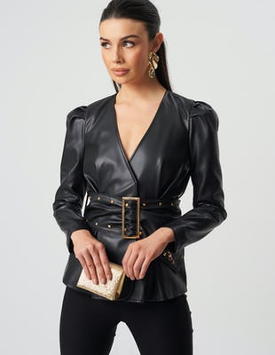 Black Faux Leather Studded Belt Jacket