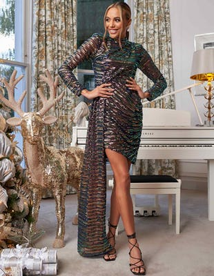 Multi Sequin Asymmetric Dress