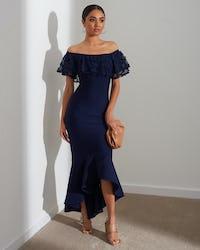 Navy Bardot Fishtail Dress