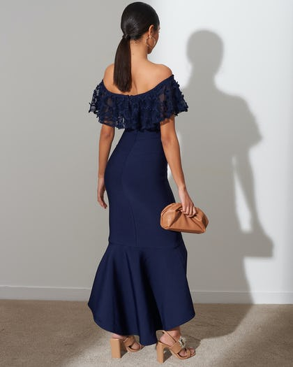 Navy Bardot Fishtail Dress