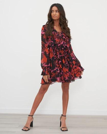 Dark Rose Ruffle Mini Dress