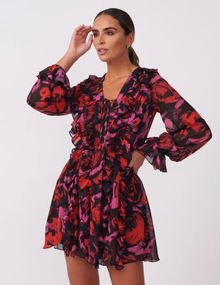 Dark Rose Ruffle Mini Dress