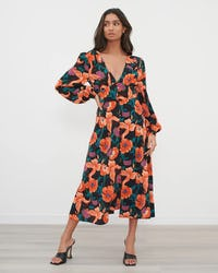Orange & Purple Floral Print Midi Dress