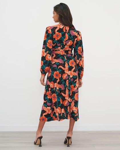 Orange & Purple Floral Print Midi Dress