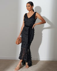 Black Disc Sequin Midi Dress