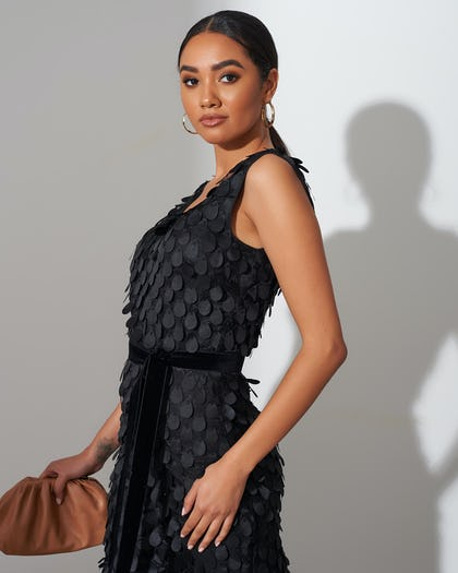 Black Disc Sequin Midi Dress