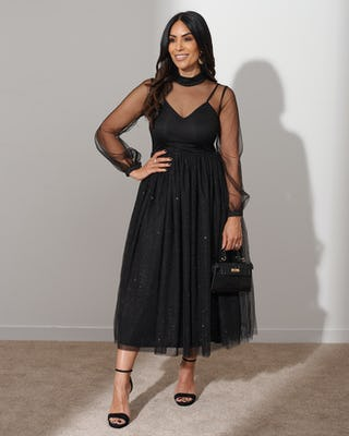 Black Glitter Tulle Midi Dress