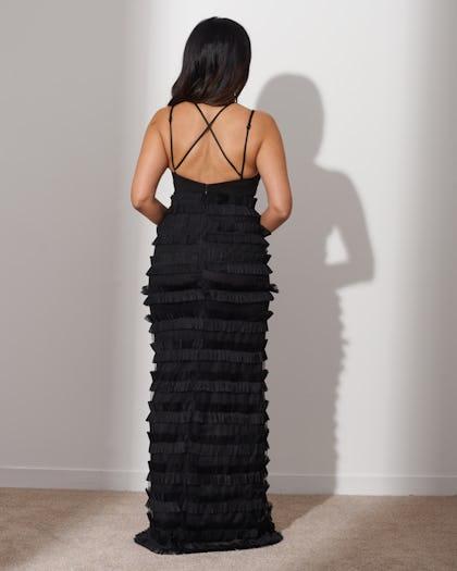 Black Ruffle Maxi Dress