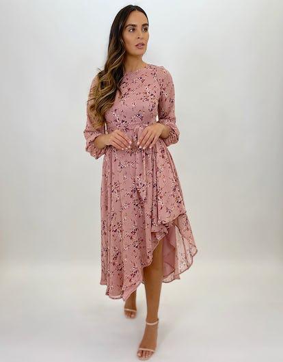 Blush Pink Ditsy Floral Print Asymmetric Midi Dress