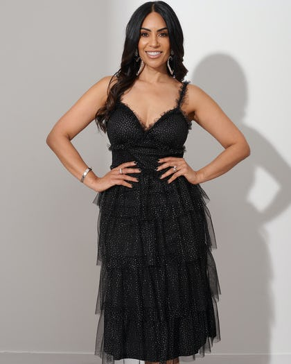 Black Glitter Tiered Ruffle Dress