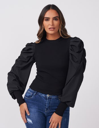 Black Ruffle Sleeve Jumper