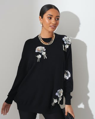 Black Sequin Flower Jumper