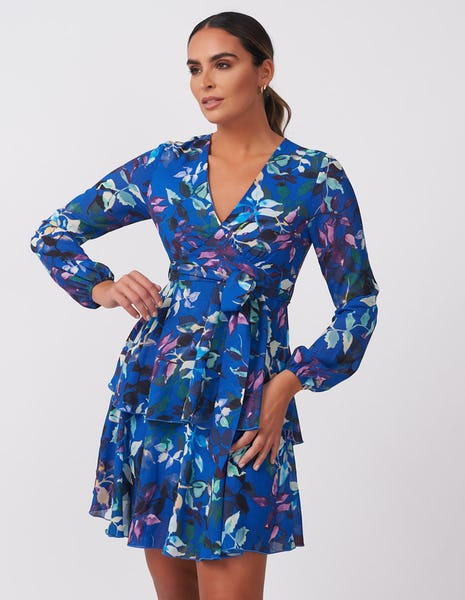 Blue Floral Wrap Mini Dress